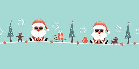 Due occhiali da sole di Babbo Natale Natale con regalo e icone turchesi Vettoriali