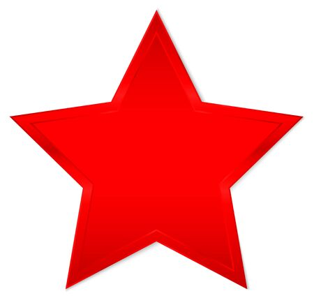 Single Isolated Red Shining Star With Shadow
