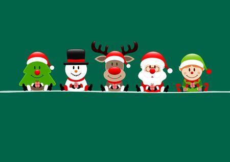 Dark Green Card Tree Snowman Reindeer Santa And Elf