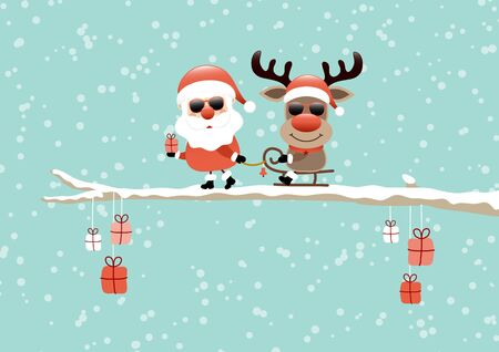 Santa Pulling Sleigh With Reindeer Sunglasses On Bough Turquoise Standard-Bild - 130391832