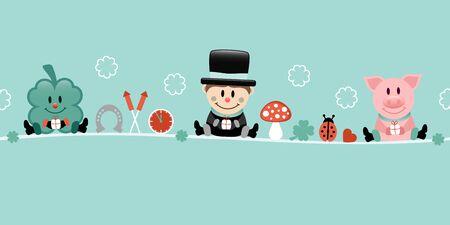Shamrock Chimney Sweep And Pig Icons New Years Eve Turquoise 일러스트