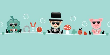 Shamrock Chimney Sweep And Pig With Sunglasses Icons New Years Eve Turquoise