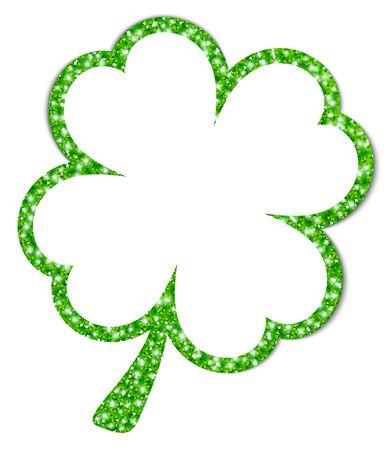 Single Green Turned Graphic Shamrock With Stalk Frame Glitter