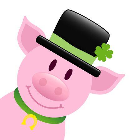 Pig With Black Cylinder And Shamrock Diagonal