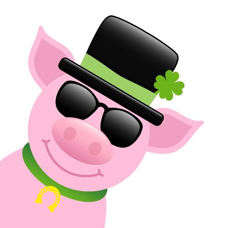 Pig With Black Cylinder And Shamrock Sunglasses Diagonal