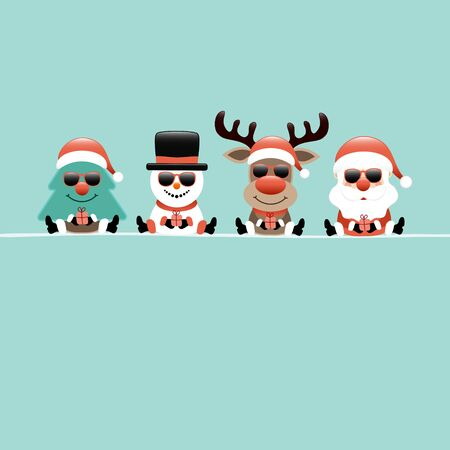 Square Christmas Card Tree Snowman Reindeer And Santa Sunglasses Turquoise