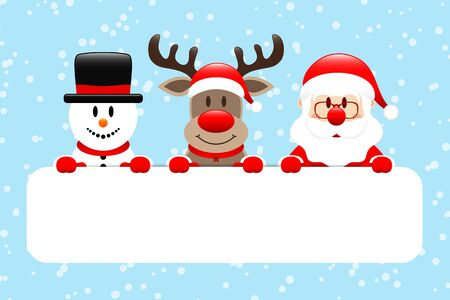 Snowman Reindeer And Santa Gift Card Snow Light Blue Illustration