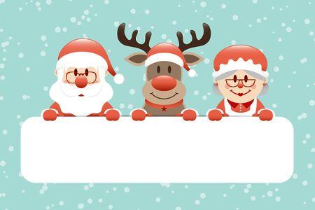 Cift Card Santa Reindeer And Mrs Santa Snow Turquoise Illustration