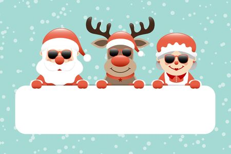 Cift Card Santa Reindeer And Santa Santa Sunglasses Snow Turquoise Illustration