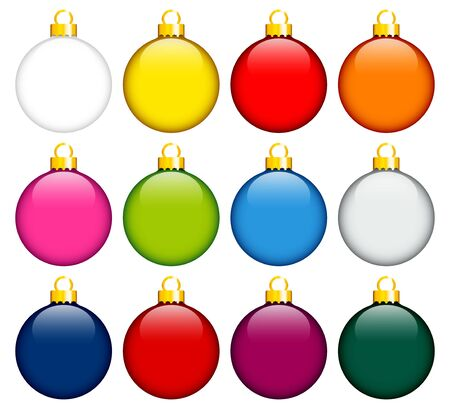 Twelve Monochrome Colorful Christmas Baubles With Gold
