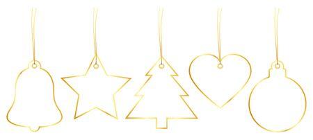Set Of Five Christmas Hangtags Golden Frame  イラスト・ベクター素材