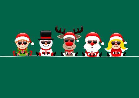 Dark Green Card Elf Snowman Reindeer's Santa And Angel With Sunglasses