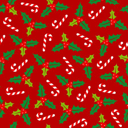 Big Seamless Pattern Holly And Candy Canes Red Green White  イラスト・ベクター素材