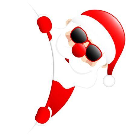 Occhiali da sole Babbo Natale all'esterno sul lato destro dello striscione rotondo Vettoriali
