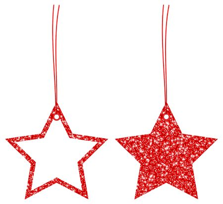 Set Of Two Hangtags Red Glitter Stars Filled And Frame