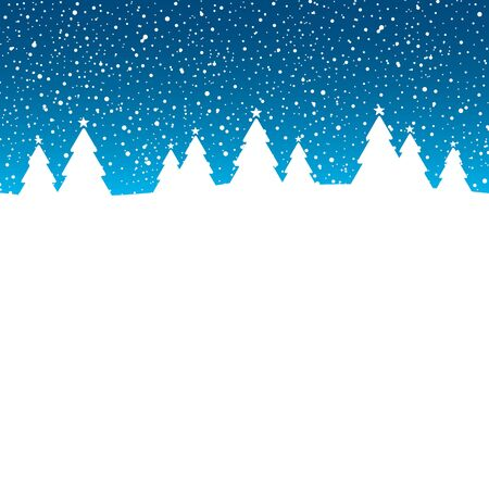 Winter Forest Snowfall Blue And White Vektorové ilustrace