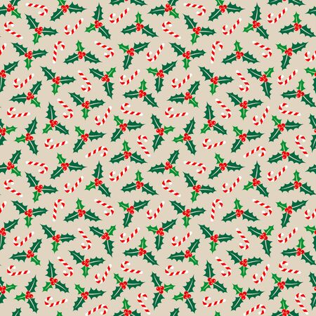 Seamless Pattern Little Holly And Candy Canes Red Green White Beige