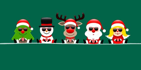 Banner Tree Snowman Reindeer Santa And Angel With Sunglasses Dark Green