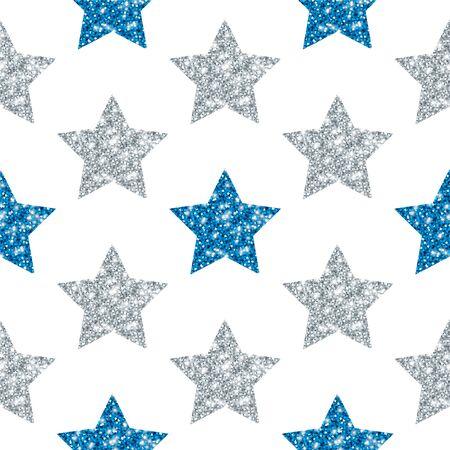 Seamless Pattern Geometric Stars Glitter Sparkling Silver Blue
