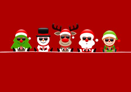 Tree Snowman Reindeer Santa And Elf With Sunglasses Red