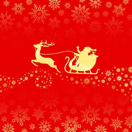 Golden Christmas Sleigh One Reindeer With Snowflakes Red Background Ilustração