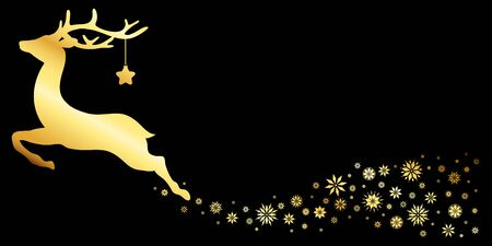 Reindeer With Snow And Snowflakes Gold Black  イラスト・ベクター素材