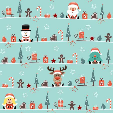 Seamless Pattern Christmas Figures With Angel Turquoise