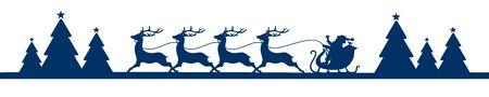 Banner Running Christmas Sleigh With Forest Dark Blue