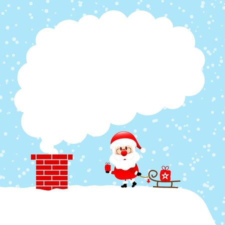 Santa Claus With Sleigh On Cloud Of Cloud Snow Blue