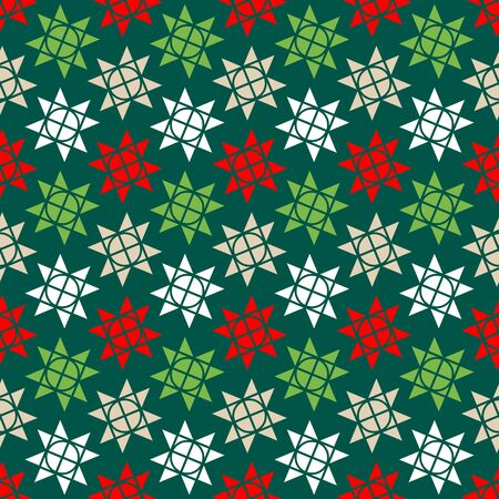 Seamless Pattern Little Graphic Christmas Stars Green Red White Beige  イラスト・ベクター素材