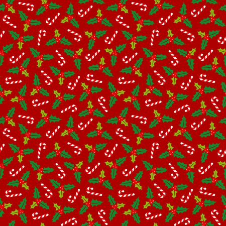 Little Seamless Pattern Holly And Candy Canes Red Green White