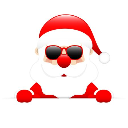 Santa Sunglasses Holding Horizontal Banner