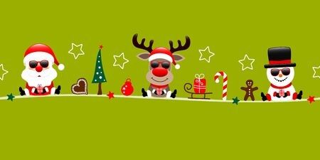 Banner Santa Reindeer And Snowman With Sunflowers And Icons Light Green  イラスト・ベクター素材