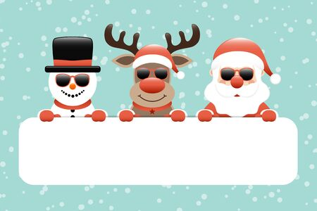 Snowman Reindeer And Santa Sunglasses Gift Card Snow Turquoise