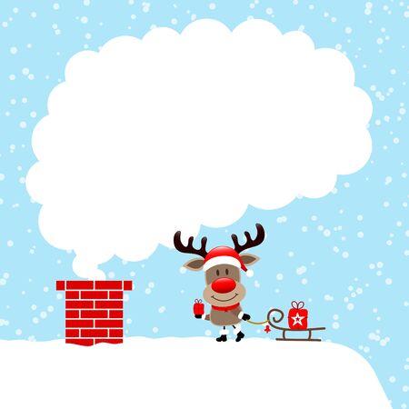 Reindeer On Roof With Sleigh Cloud Of Smoke Snow Blue 일러스트