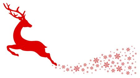 Red Jumping Reindeer Looking Backward Tail Of Snowflakes