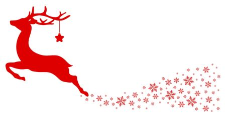 Red Flying Reindeer With Stars Looking Forward Snowflakes