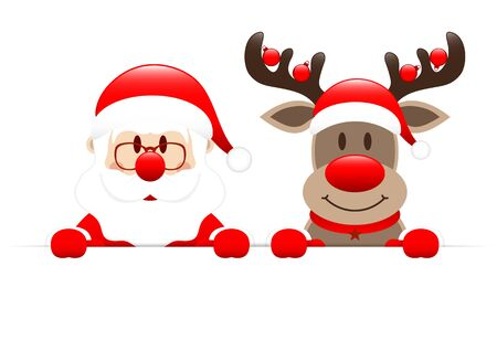 Santa Claus And Reindeer With Baubles Horizontal Banner  イラスト・ベクター素材