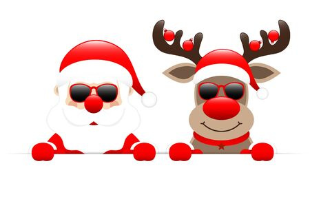 Santa Claus And Reindeer With Baubles Sunglasses Horizontal Banner