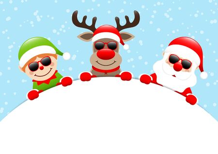 Elf Reindeer And Santa Sunglasses Holding Round Banner Snow Blue  イラスト・ベクター素材