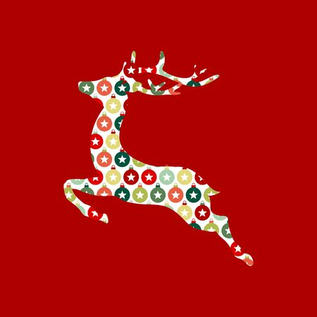 Abstract Reindeer With Pattern Of Baubles Star Red Green