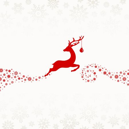 Reindeer With Bauble Flying To The Right Snowflakes Red Beige  イラスト・ベクター素材