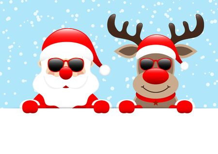 Santa And Reindeer Sunglasses Horizontal Banner Snow Blue