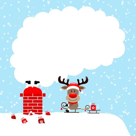 Santa Stuck In Chimney And Reindeer Sitting On Sleek Smoke Snow Blue Illustration