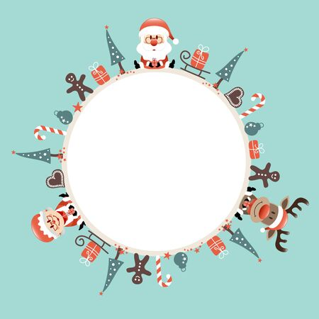 Round Christmas Frame Santa Reindeer And Wife Icons Turquoise  イラスト・ベクター素材