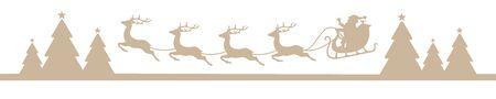 Banner Beige Fliegender Weihnachtsschlitten über dem Wald