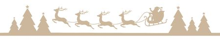 Banner Beige Flying Christmas Sleigh Above Forest