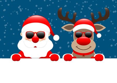Santa And Reindeer Sunglasses Horizontal Banner Snow Dark Blue