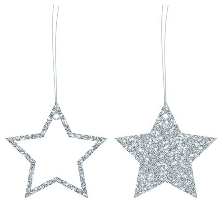 Two Hangtags Silver Glitter Stars Filled And Frame