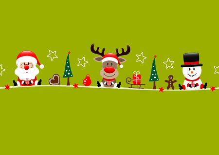 Card Santa Reindeer And Snowman With Icons Light Green  イラスト・ベクター素材